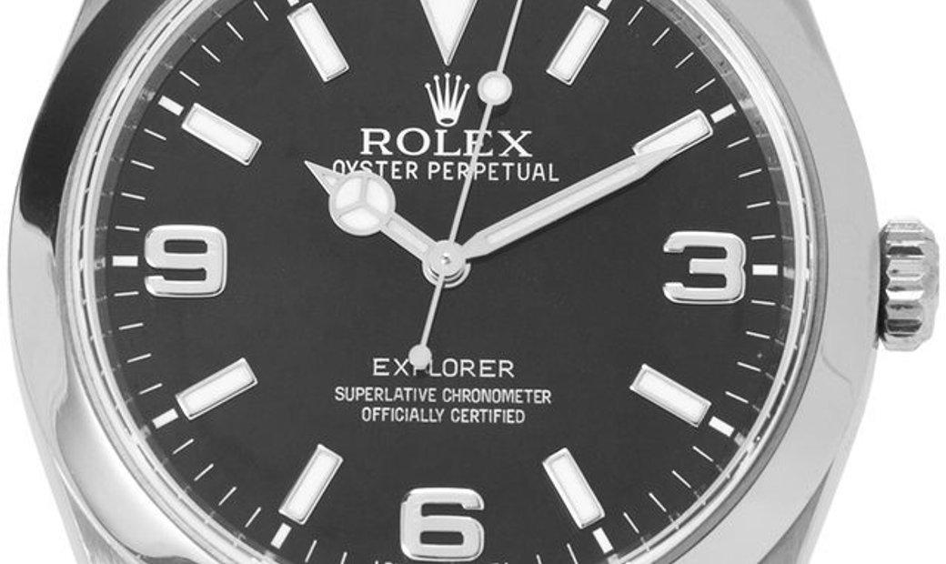 Rolex Explorer 214270, Arabic Numerals, 2015, Good, Case material Steel, Bracelet mater