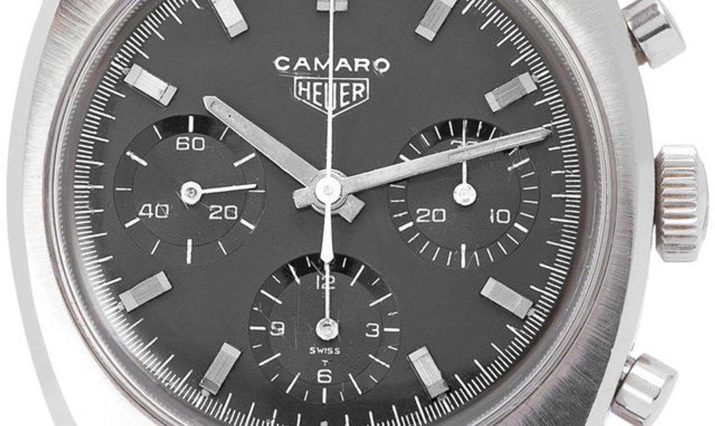 Heuer Camaro 7220 N, Baton, 1970, Used, Case material Steel, Bracelet material: Leather