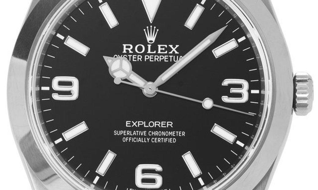 Rolex Explorer 214270, Arabic Numerals, 2017, Very Good, Case material Steel, Bracelet