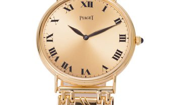 Piaget Vintage 9043, Roman Numerals, 1950, Good, Case material Yellow Gold, Bracelet ma