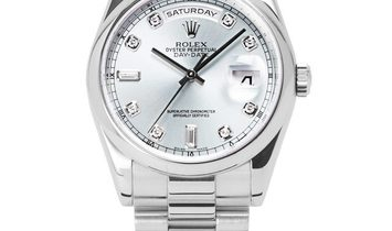 Rolex Day-Date 118206, Diamonds, 2005, Very Good, Case material Platinum, Bracelet mate