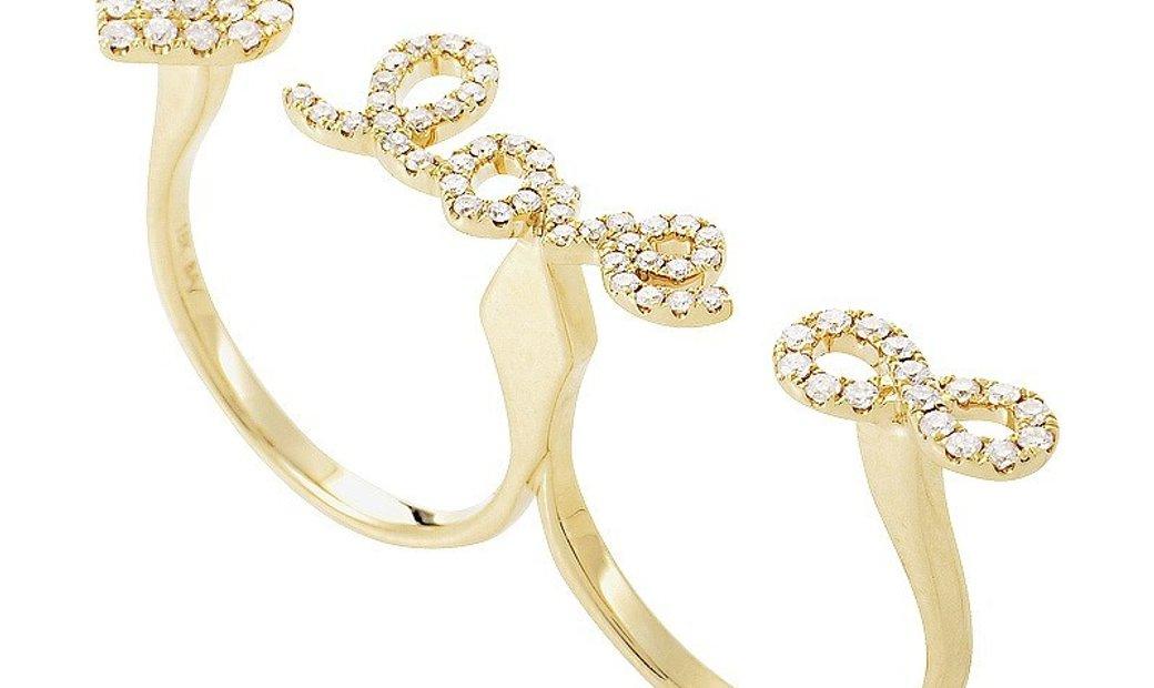 """Non Branded 18K Yellow Gold & Diamond """"Love"""" 2 Finger Ring KO19451RZZ"""