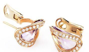 Superoro Superoro Yellow Gold Diamond & Amethyst Huggie Earrings ER8-062058YGAM
