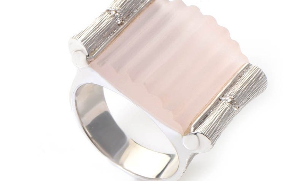 Non Branded 18K White Gold Pink Quartz & Diamond Ring