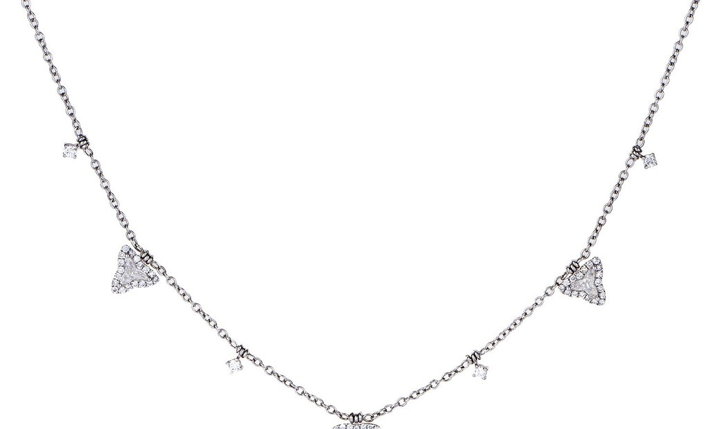 Non Branded 18K White Gold Dangling Diamonds Necklace