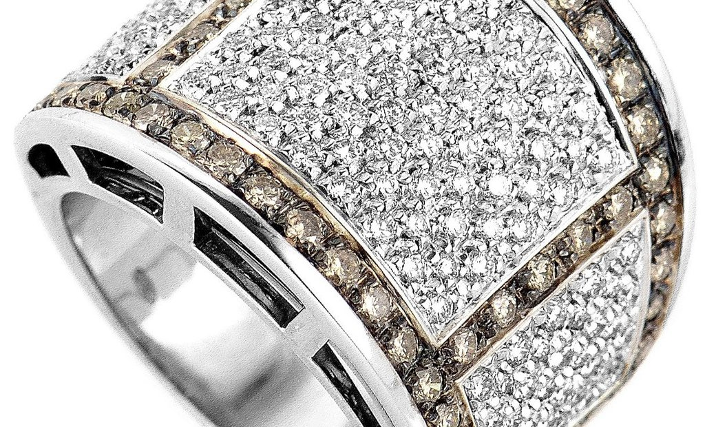 Salvini Salvini 18K White Gold Cognac & White Diamond Band Ring