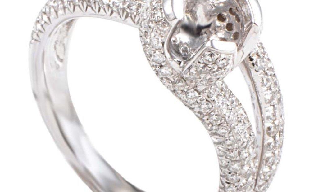 LB Exclusive LB Exclusive 18K White Gold Diamond Pave Split Shank Mounting Ring LBD-095519