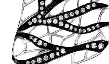 Non Branded 18K White Gold Diamond Coral Motif Earrings