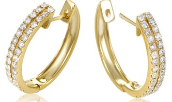 LB Exclusive LB Exclusive Women's 14K Yellow Gold 2-Row Diamond Oval Hoop Earrings AER-12696Y