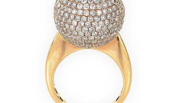 Non Branded 18K Rose Gold Diamond Set Sphere Ring