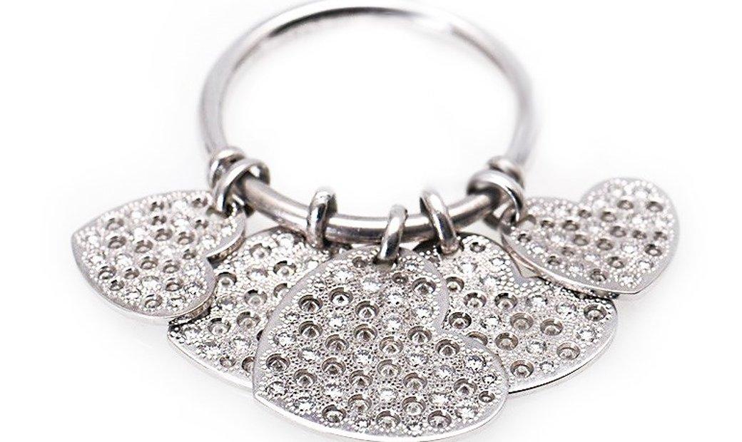 Dior Dior 18K White Gold Diamond Hearts Dangle Ring