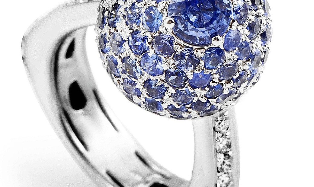 Non Branded Italian Collection 18K White Gold Sapphire & Diamond Ring
