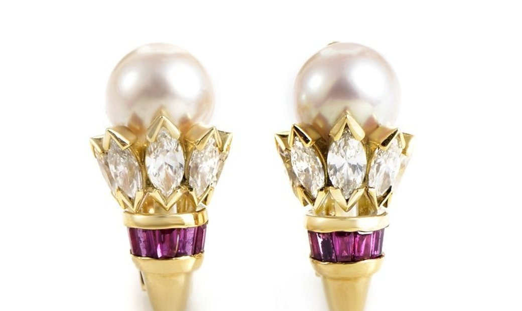 Cartier Cartier 18K Yellow Gold Diamond Pearl and Ruby Earrings