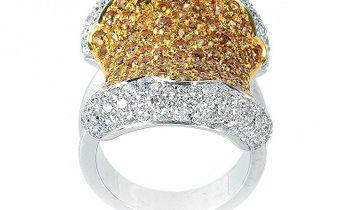 Oro Trend Oro Trend 18K White Gold Yellow Sapphire and Diamond Ring
