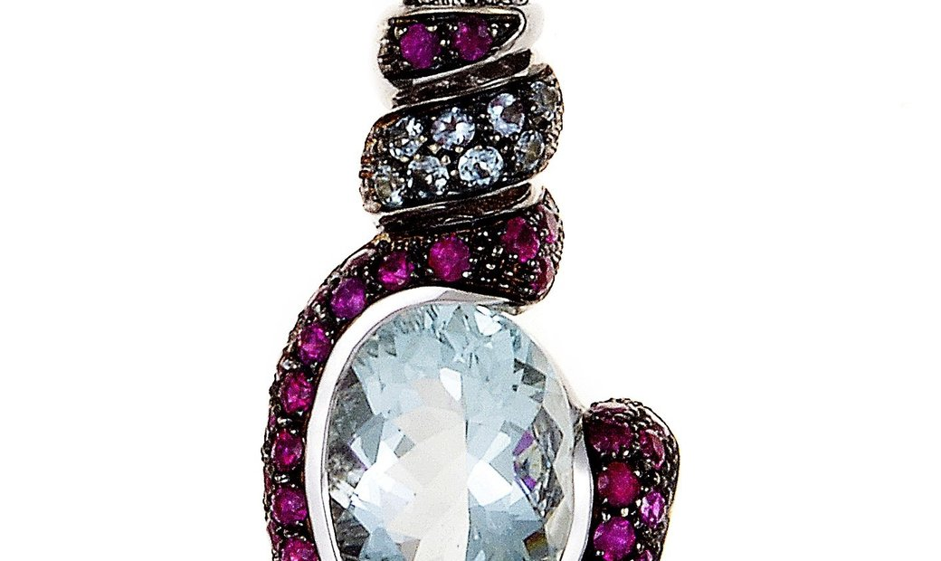 LB Exclusive LB Exclusive 18K White Gold Aquamarine & Ruby Pendant Necklace 20732061