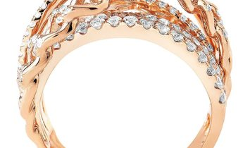 Non Branded Openwork 18K Rose Gold Diamond Band Ring KOW32271RRZ