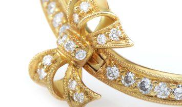 Ponte Vecchio Ponte Vecchio 18K Yellow Gold Diamond Bow Hoop Clip-On Earrings