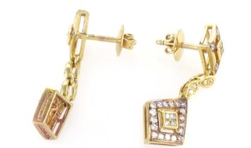 LB Exclusive LB Exclusive 18K Yellow Gold White & Yellow Diamond Drop Earrings MFC01-082114
