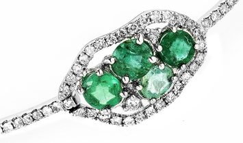 Non Branded Single Row 18K White Gold Diamond and Emerald Bangle