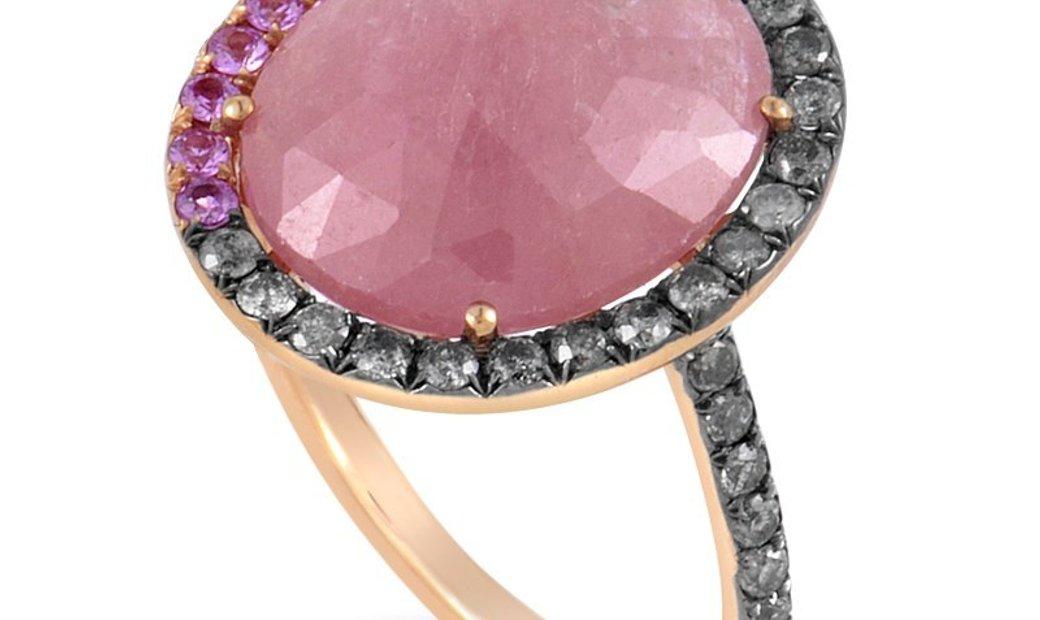 Non Branded 18K Rose Gold Pink Quartz & Diamond Ring CRR10025