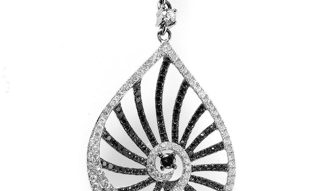 Natalie K Natalie K 14K White Gold Black & White Diamond Openwork Teardrop Pendant