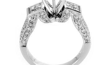 Non Branded Avant Garde 18K White Gold Diamond Engagement Ring Mounting