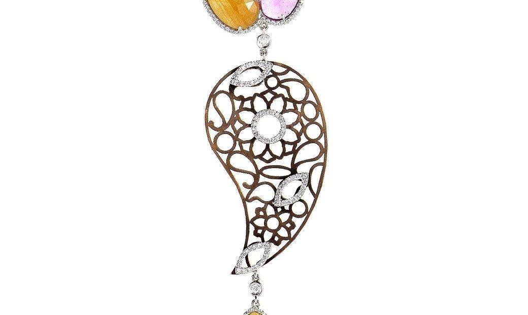 LeaderLine LeaderLine 18K Multi Gold and Sapphire Diamond Pendant Necklace