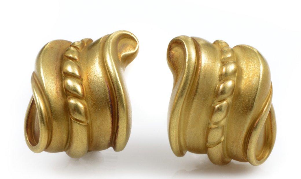 Kieselstein-Cord Kieselstein-Cord 18K Yellow Gold Carved Huggie Earrings