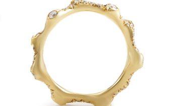 Non Branded 18K Yellow Gold Diamond Band Ring KOR211DZZ