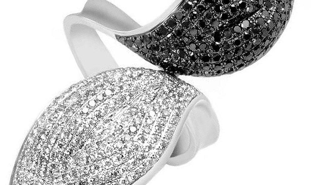 Natalie K Natalie K 14K White Gold Black & White Diamond Pave Leaf Ring