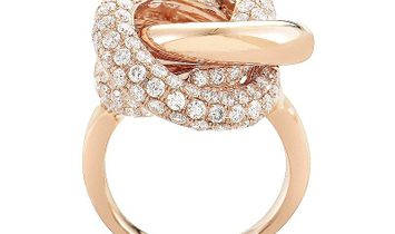 Non Branded 18K Rose Gold Knotted Diamond Ring