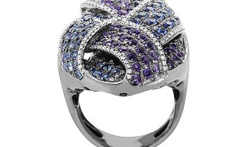 French Collection French Collection 18K White Gold Amethyst & Sapphire Pave Ring HF03780RA-WAMS