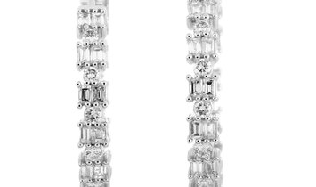 LB Exclusive LB Exclusive 18K White Gold Diamond Pave Hoop Earrings