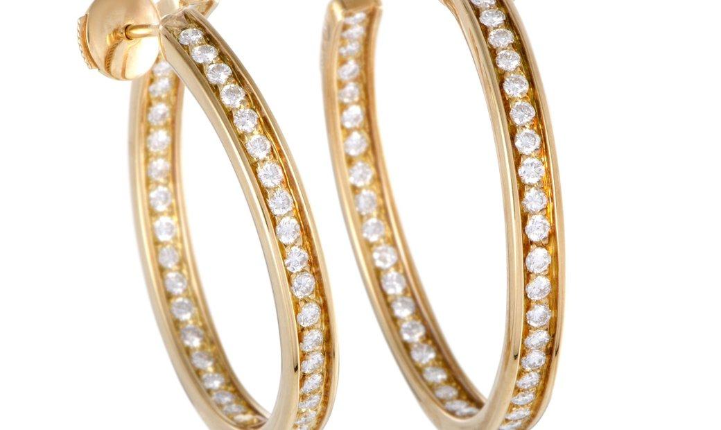 Cartier Cartier 18K Yellow Gold Diamond Inside Out Large Hoop Earrings