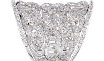 LB Exclusive LB Exclusive 18K White Gold Full Diamond Chain Pattern Band Ring