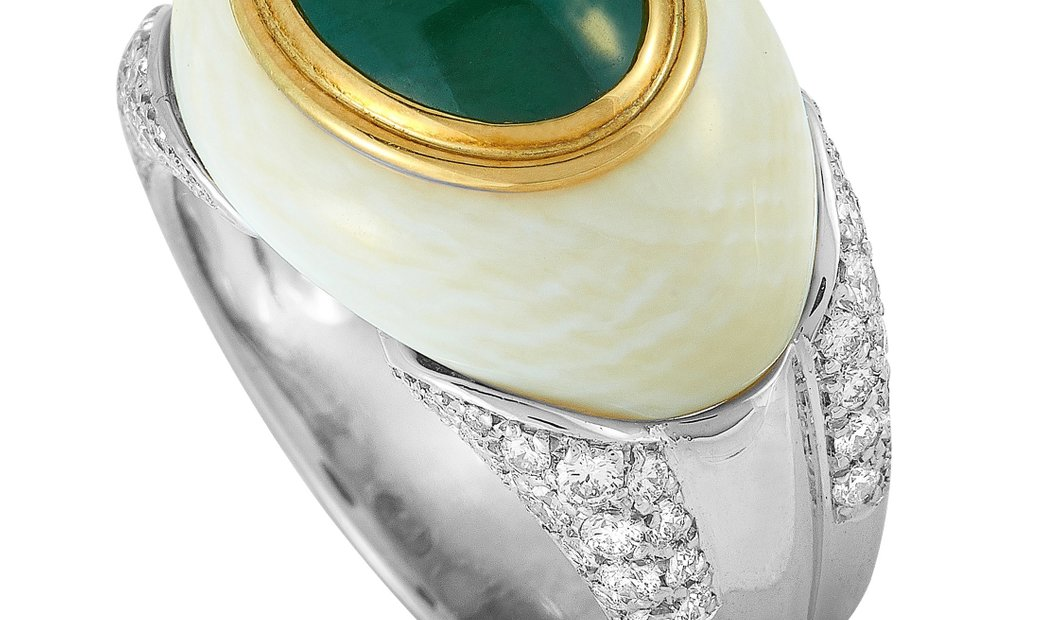 LB Exclusive LB Exclusive Platinum Diamond, White Coral and Jade Ring