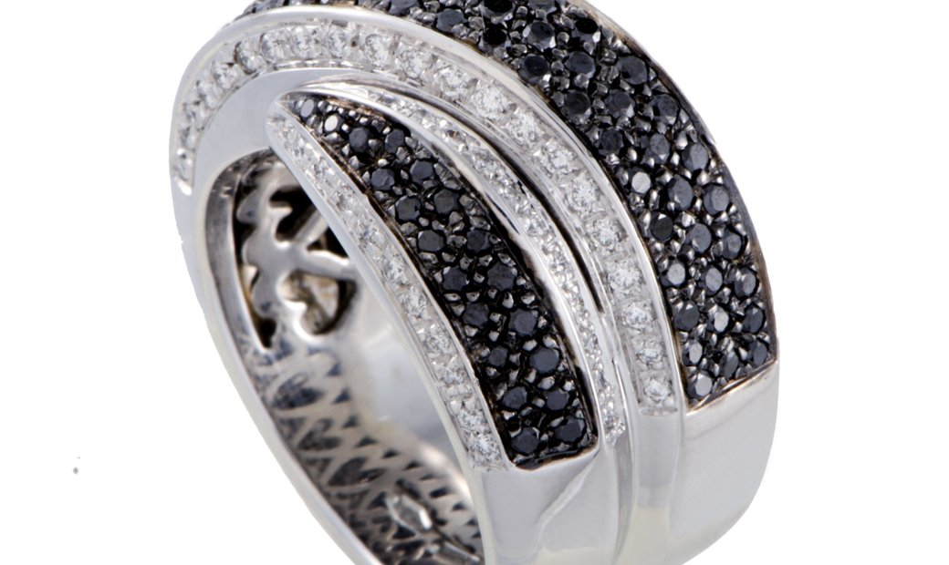 Leo Pizzo Leo Pizzo 18K White Gold White and Black Diamond Cross-over Wide Band Ring