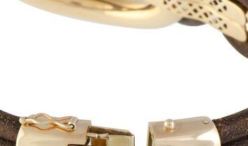Bucherer  Bucherer 18K Rose Gold Brown Diamonds and Brown Leather Large Double Loop Bangle Bracelet