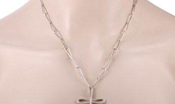 Bucherer  Bucherer 18K White Gold Full Diamond Pave Large Cross Pendant Loop Chain Necklace