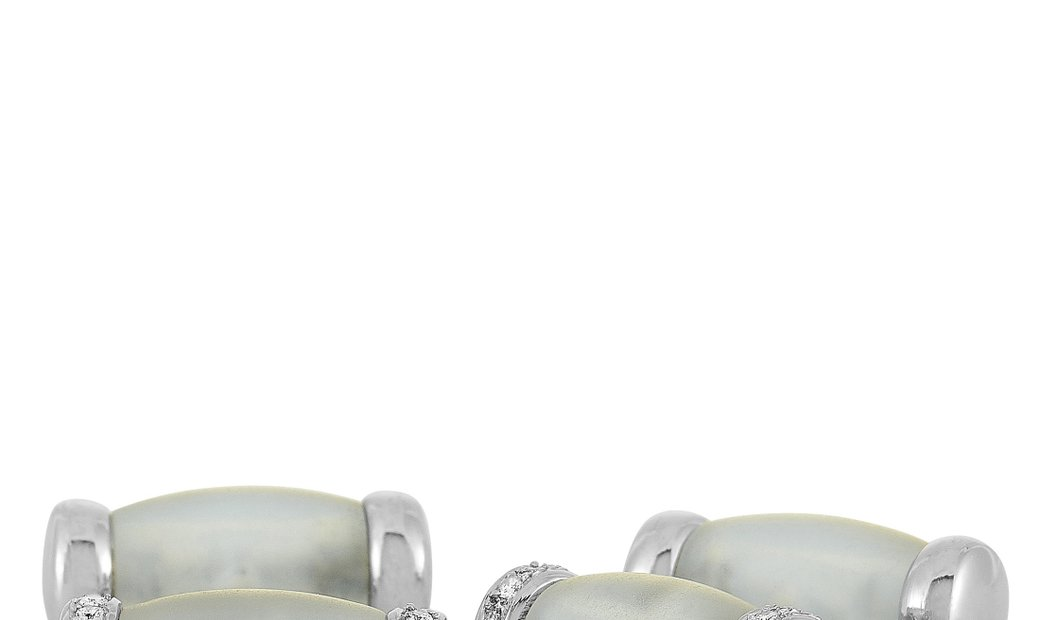 LB Exclusive LB Exclusive 18K White Gold Diamond and Crystal Cufflinks
