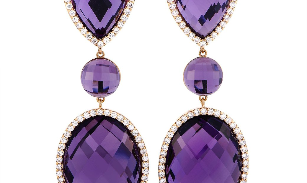Roberto Coin Roberto Coin 18K Rose and White Gold Diamond and Amethyst Oval Long Drop Earrings