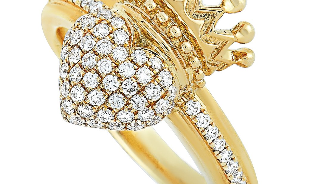 King Baby King Baby 18K Yellow Gold and Diamond Crowned Heart Ring