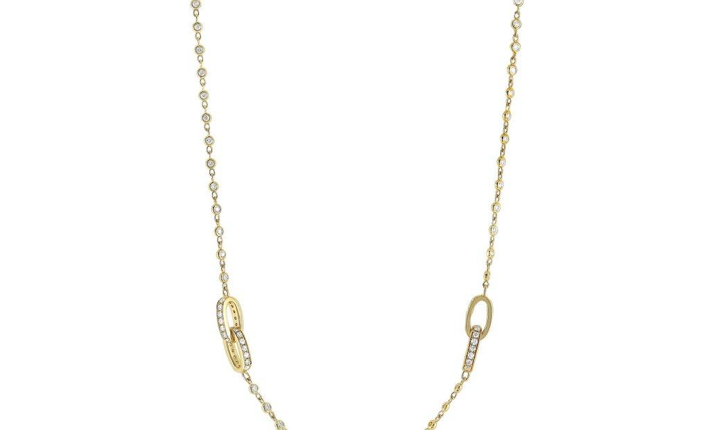 LB Exclusive LB Exclusive 18K Yellow Gold 3.00 ct Diamond Pave 8 Oval Long Sautoir Necklace