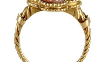 Van Cleef & Arpels Van Cleef & Arpels Vintage Alhambra 18K Yellow Gold Diamond and Coral Ring