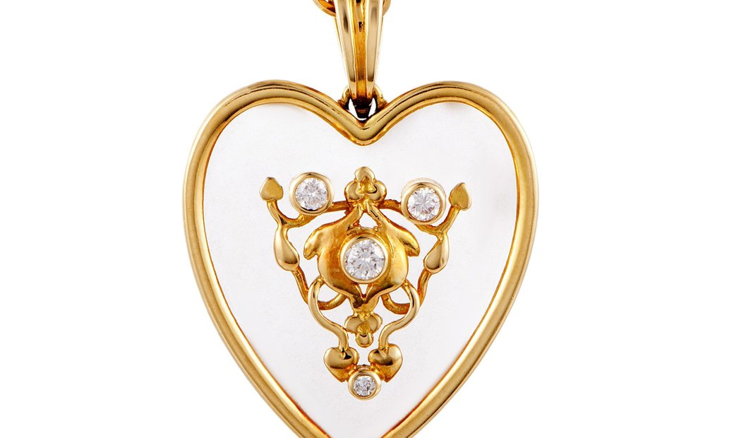 Ilias Lalaounis Ilias Lalaounis 18K Yellow Gold Diamond and Crystal Heart Pendant Necklace
