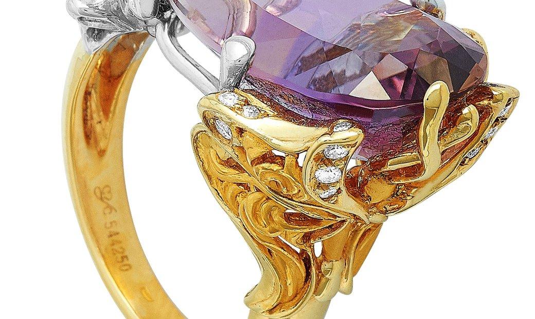 Carrera y Carrera Carrera y Carrera Alegoría 18K Yellow/White Gold 0.13 ct Diamond and Ametrine Ring