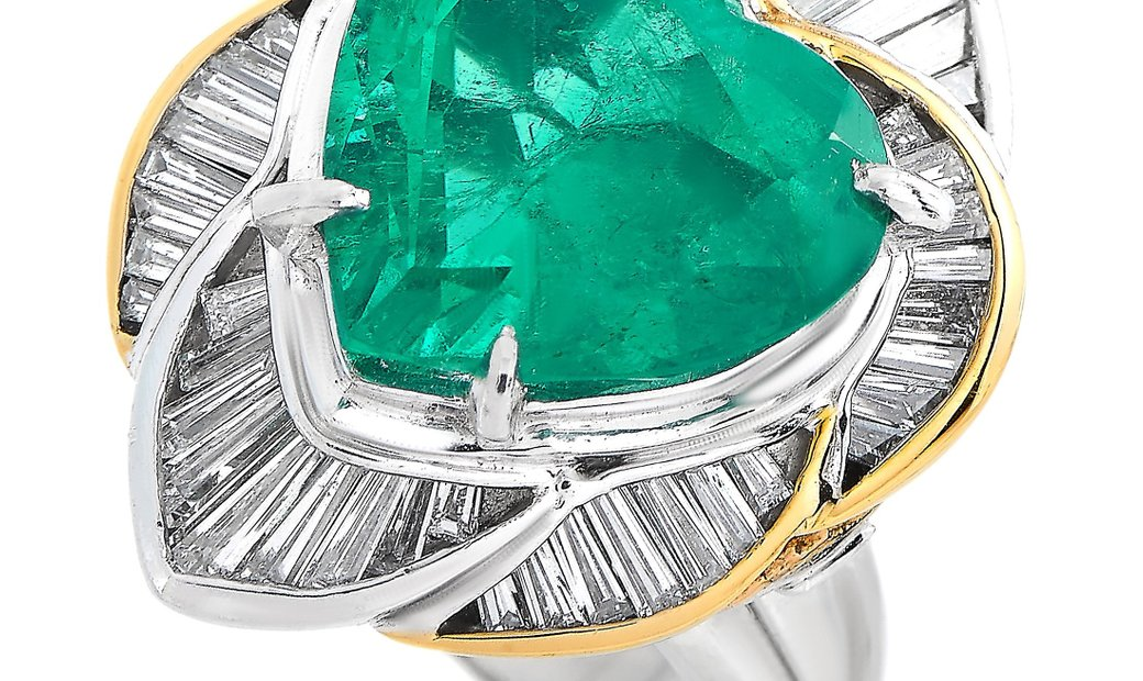 LB Exclusive LB Exclusive Platinum and 18K Yellow Gold 1.20 ct Diamond and Emerald Ring