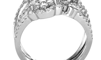 LB Exclusive LB Exclusive 18K White Gold Diamond Pave Flowers Split Wide Band Ring