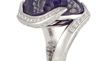 Non Branded Platinum Diamond and Amethyst Cocktail Ring