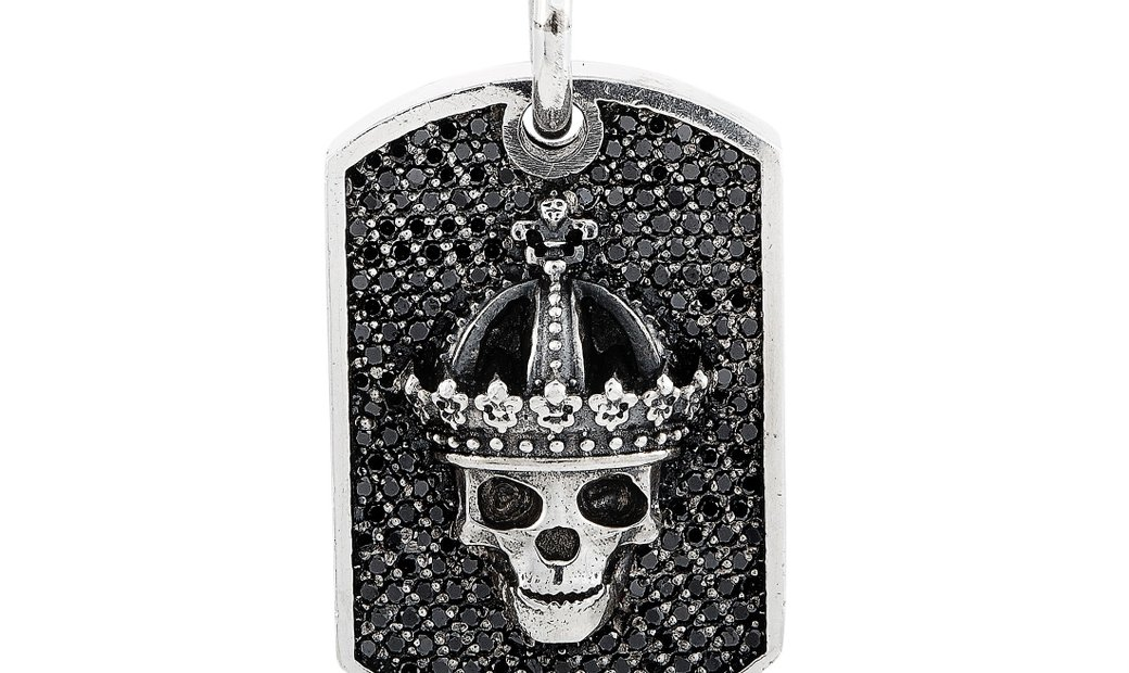 King Baby King Baby Silver and Black Diamond Small Crowned Skull Relic Dog Tag Pendant Necklace